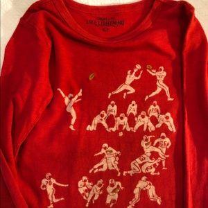 Long sleeve vintage look football T-shirt